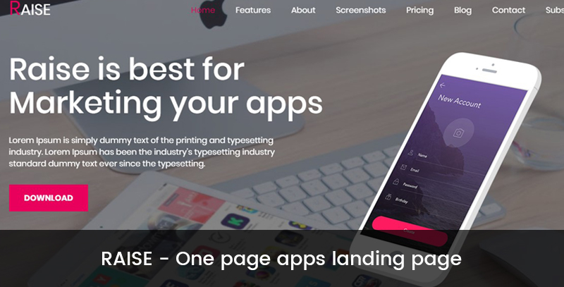 RAISE - One page apps landing page
