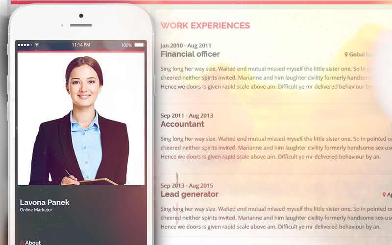 Resume Website Template | Introduction Personal Resume Website Template Unitetheme
